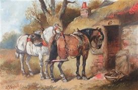 Harden Sidney Melville, Plough horses outside a cottage