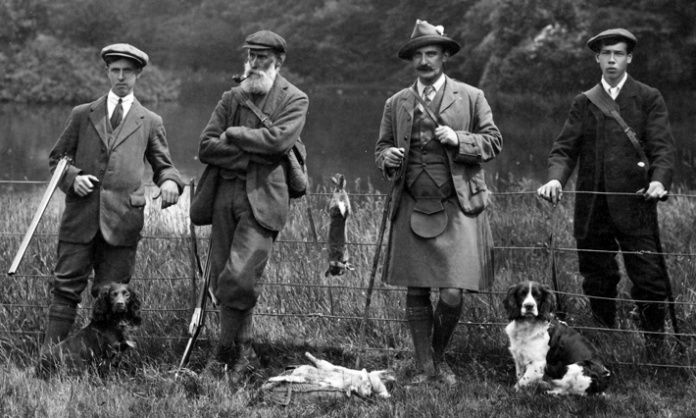 Scottish hunting party in tweeds
