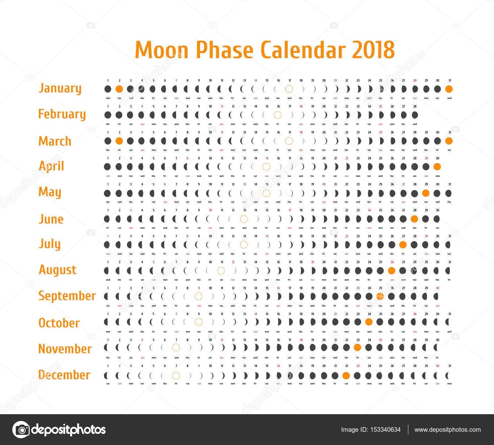 Calendario Astrologico De Vetor Para 2018 Calendario Da Fase Da Lua Para Cinza Escuro Sobre Um Fundo Branco Calendario Lu Fases Da Lua Calendario Lunar Datas
