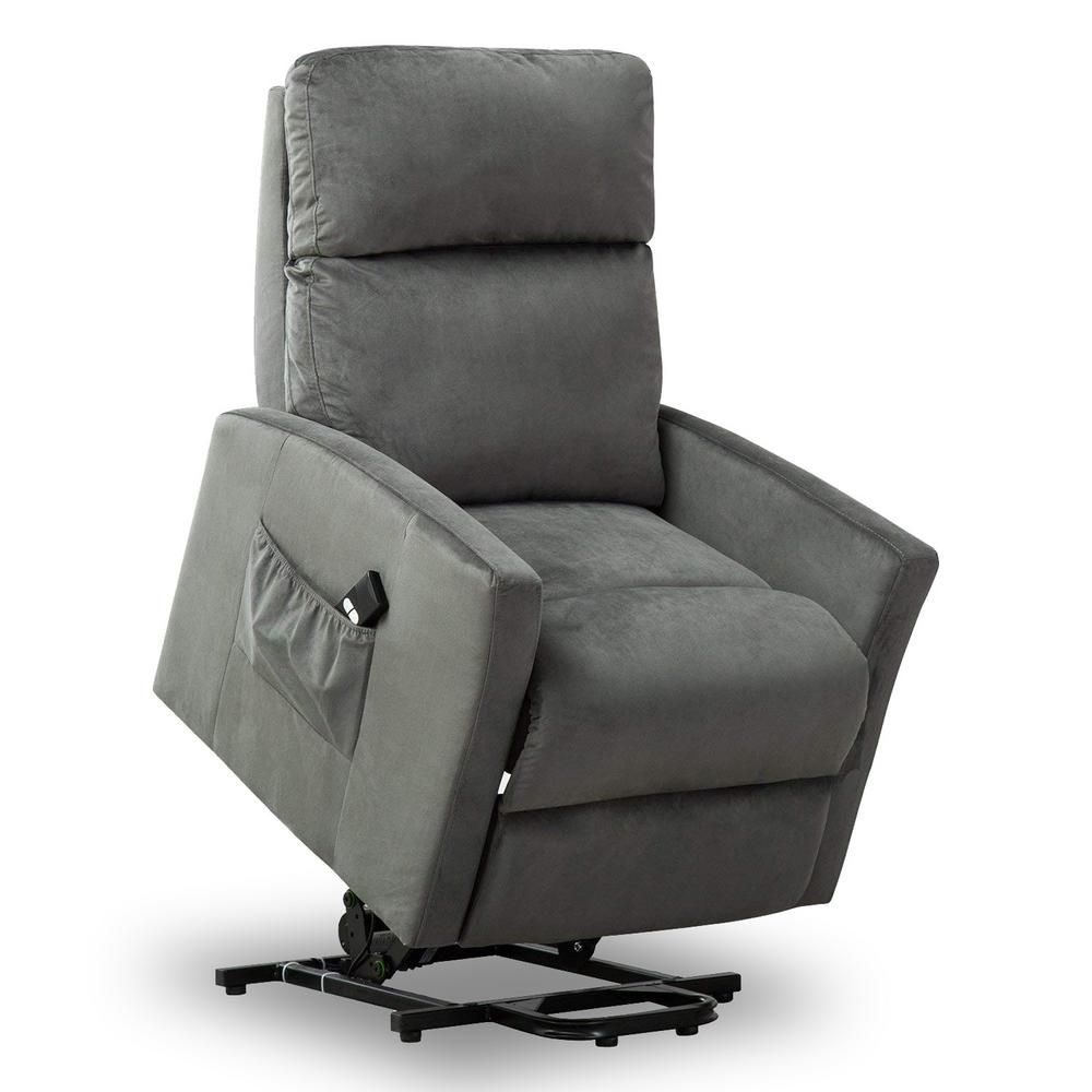 Good Gracious Grey Powel Lift Recliner Chair For Elderly Heavy Duty And Soft Fabric Single Sofa L6134d135 The Home Depot Lift Chairs Lift Recliners Chair