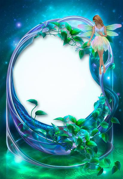 blue-green-flowers frame