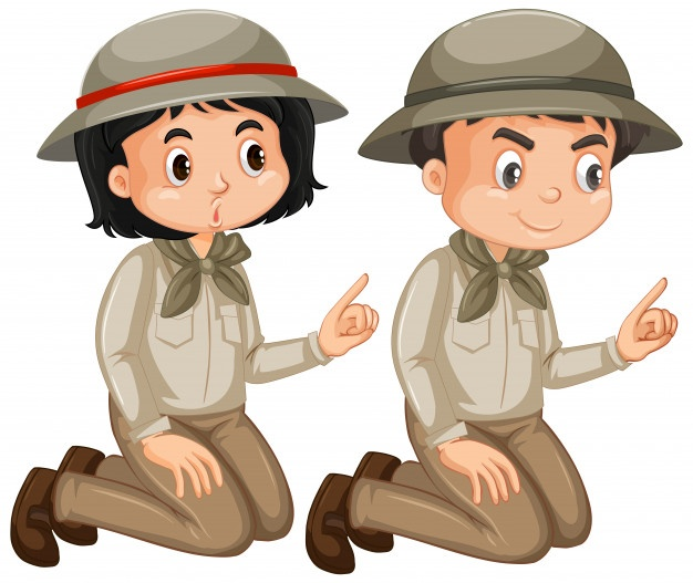 Download Boy And Girl In Safari Outfit Isolated For Free Safari Outfits Love Art Vector Free