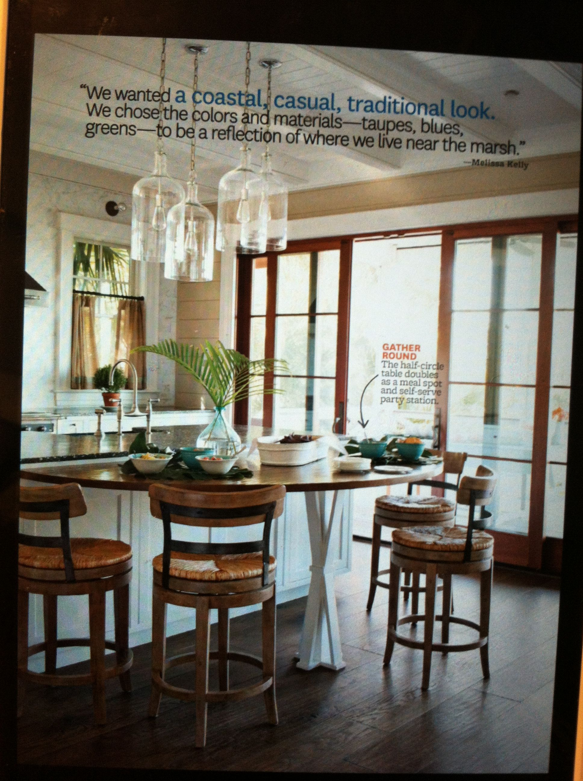 Half Circle Table Connected To Kitchen Counter Better Homes Gardens Magazine I Love This As A Possible Add On For Our Ki Home Kitchens Home Kitchen Remodel