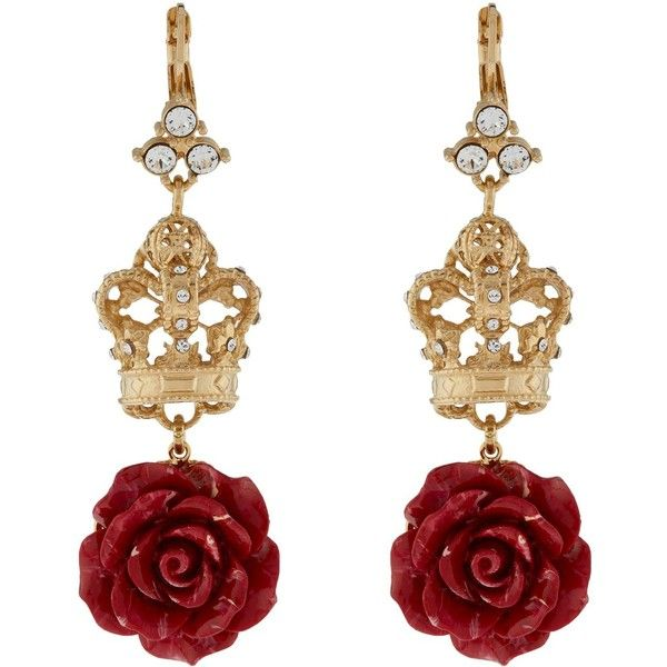6a5e4822fd3da Dolce   Gabbana Rose and Crown Earrings ( 695) ❤ liked on Polyvore  featuring jewelry