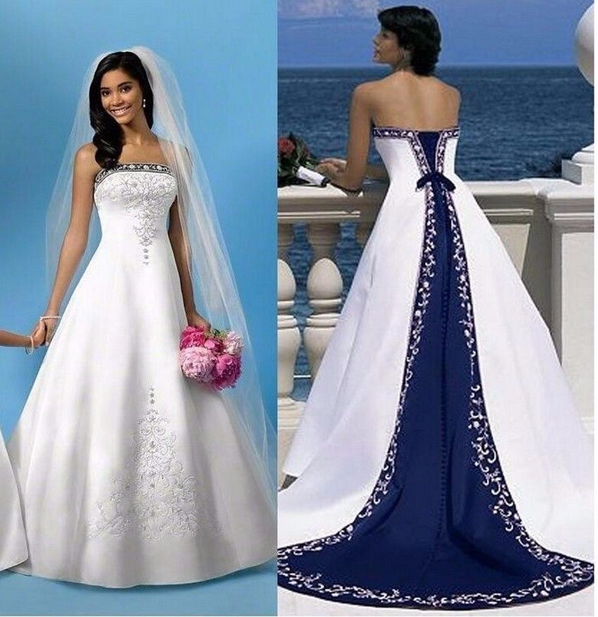 white and royal blue embroidery wedding dress bridal gown custom