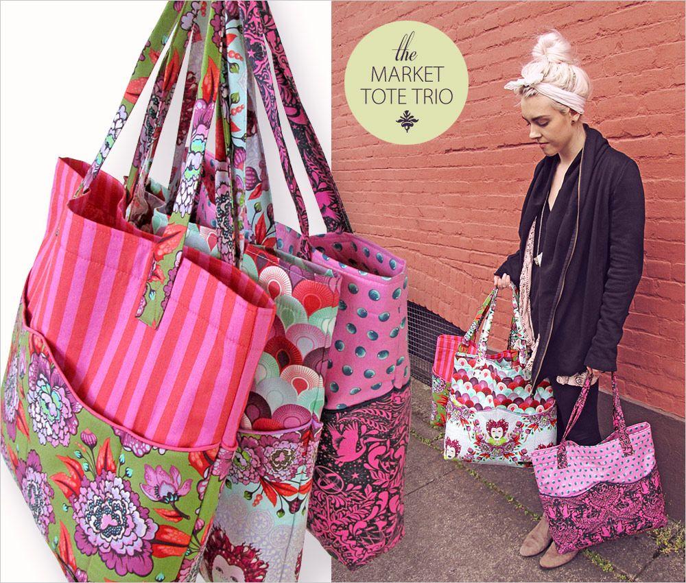 Market Tote Trio in Tula Pink\'s Elizabeth: FreeSpirit Fabrics ...