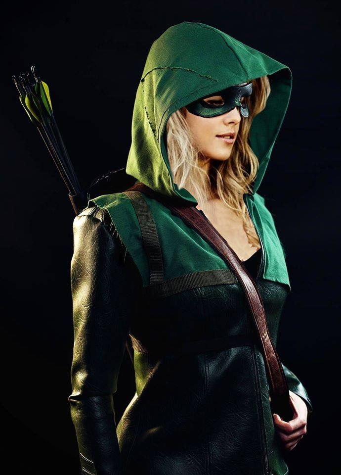 Example of a tasteful cape/hood. If a lady wants to be Arrow, a green hood with a green dress would be awesome.