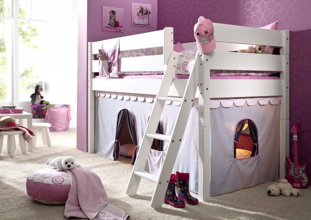 massivholz hochbett spielbett mit vorhang girl buche massiv wei lackiert i nora. Black Bedroom Furniture Sets. Home Design Ideas