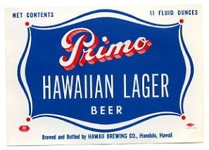 Primo Hawaiian Lager Beer Label Honolulu Hi  Hawaii