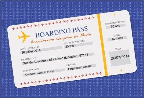 Billet d 39 avion invitation 18 ans pinterest - Modele billet avion a imprimer ...