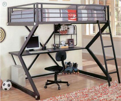 Cama alta y escritorio debajo cuarto Pinterest Camas altas