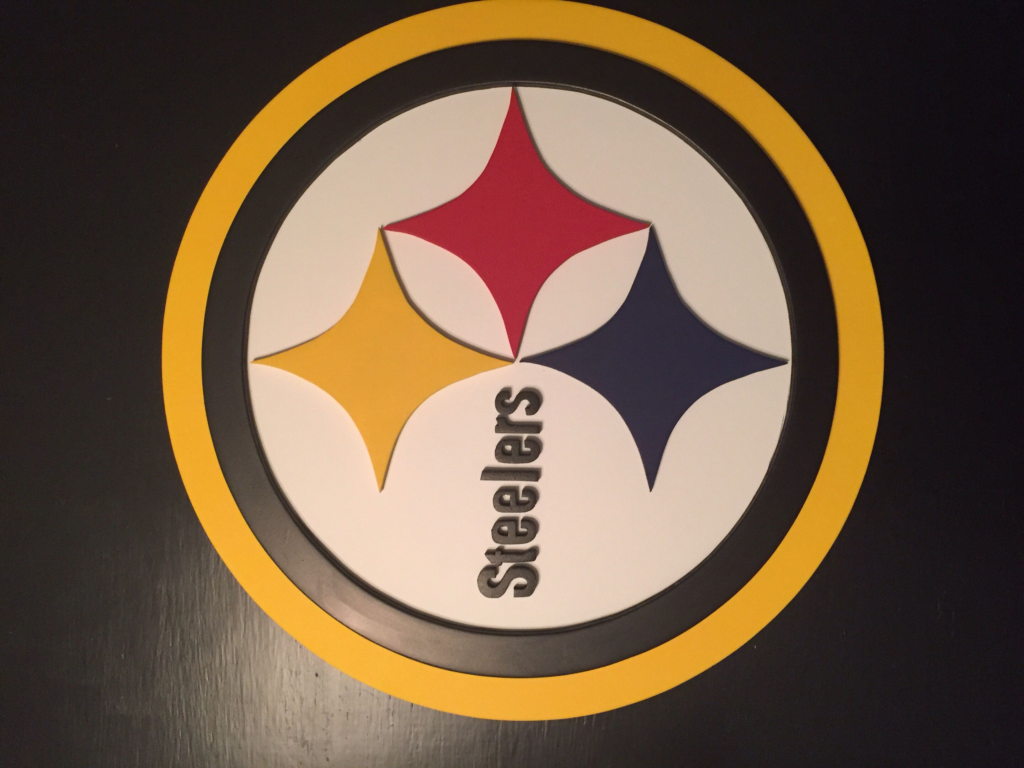 Pittsburgh steelers 3 d sign custom woodworking hand made by kate hall steelers wall art