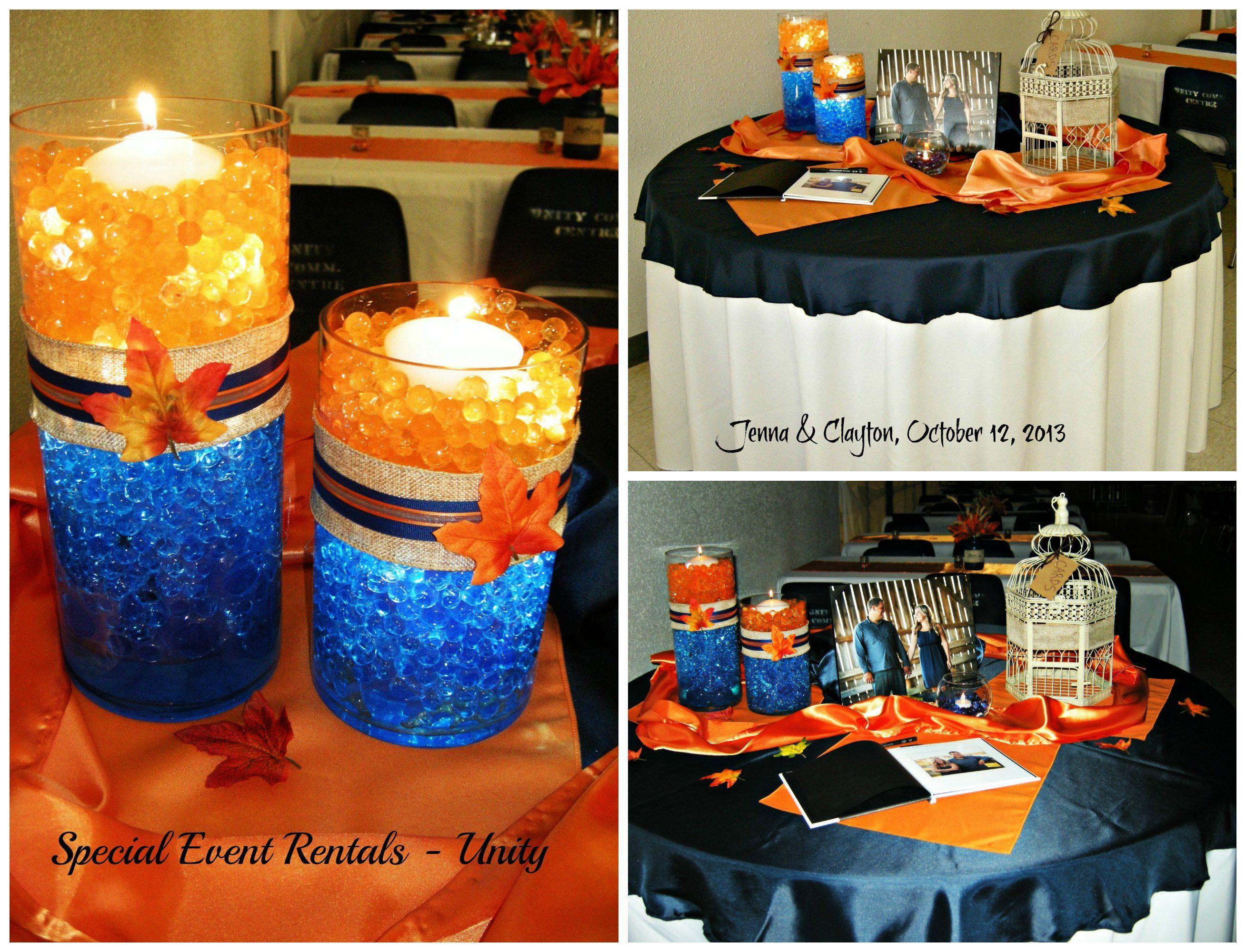 Guest table water bead centerpiece navy and orange setup for Orange centerpieces for tables