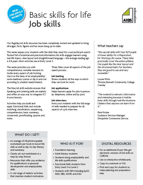 {A selection of 5 worksheets from Axis Educations Job skills – Job Readiness Worksheets