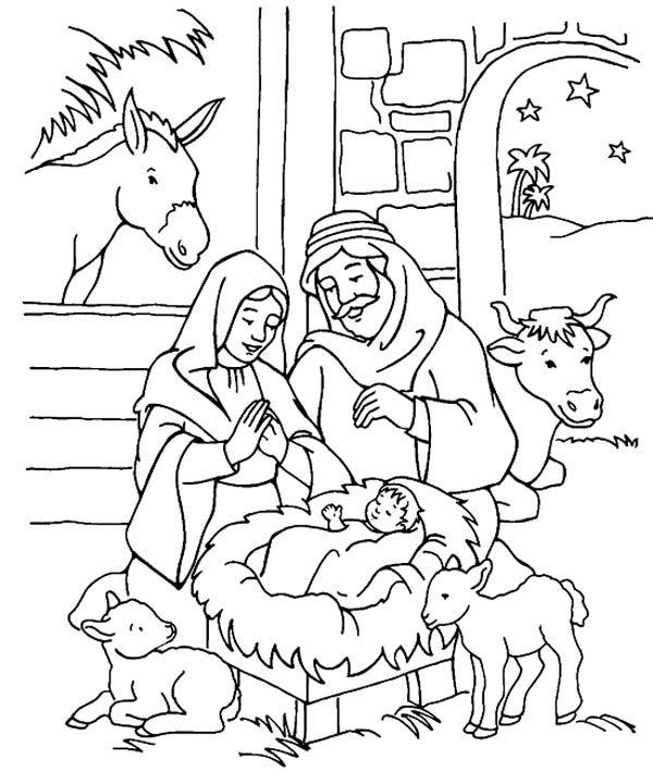 Scenery Of Nativity In Jesus Christ Coloring Page Color Luna Nativity Coloring Pages Nativity Coloring Jesus Coloring Pages