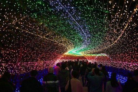 Amazing Light Installation At A Japanese Botanical Garden Light Tunnel Nabana No Sato Winter Light