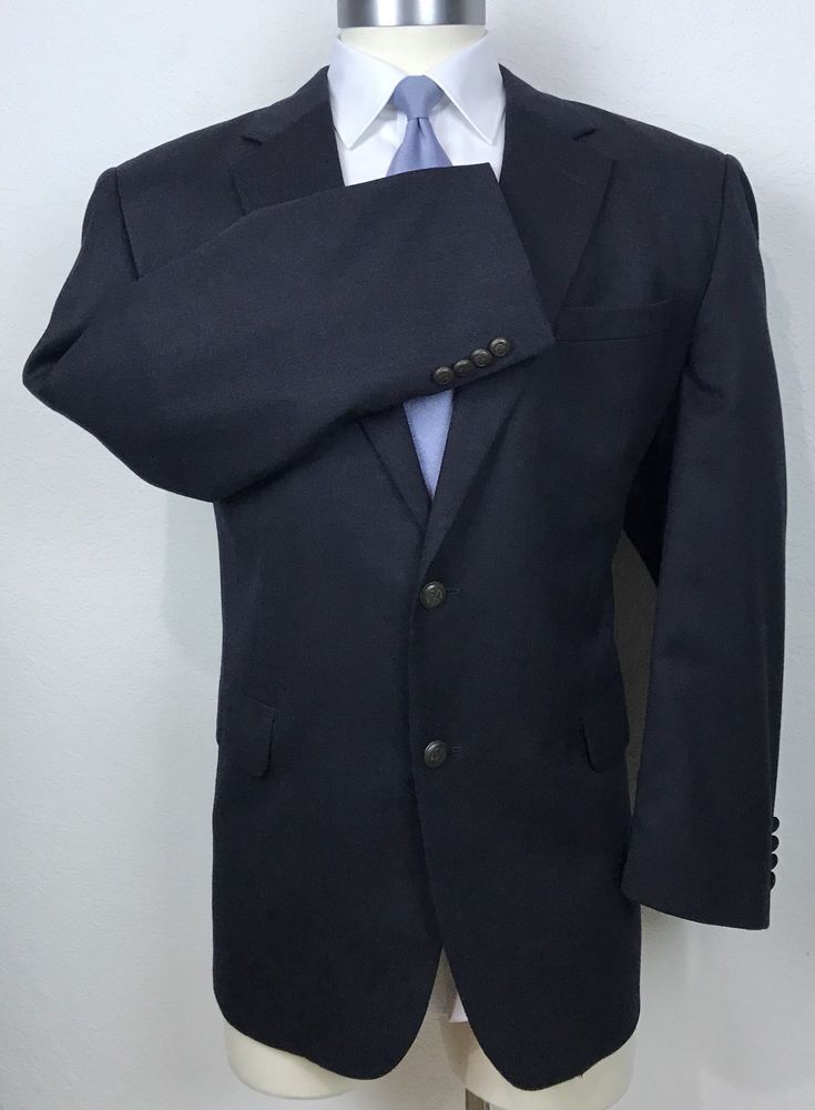 2893aea476d Jos A Bank Wool   Cashmere Dark Navy Blue Blazer Metal Buttons Sport Coat  46R