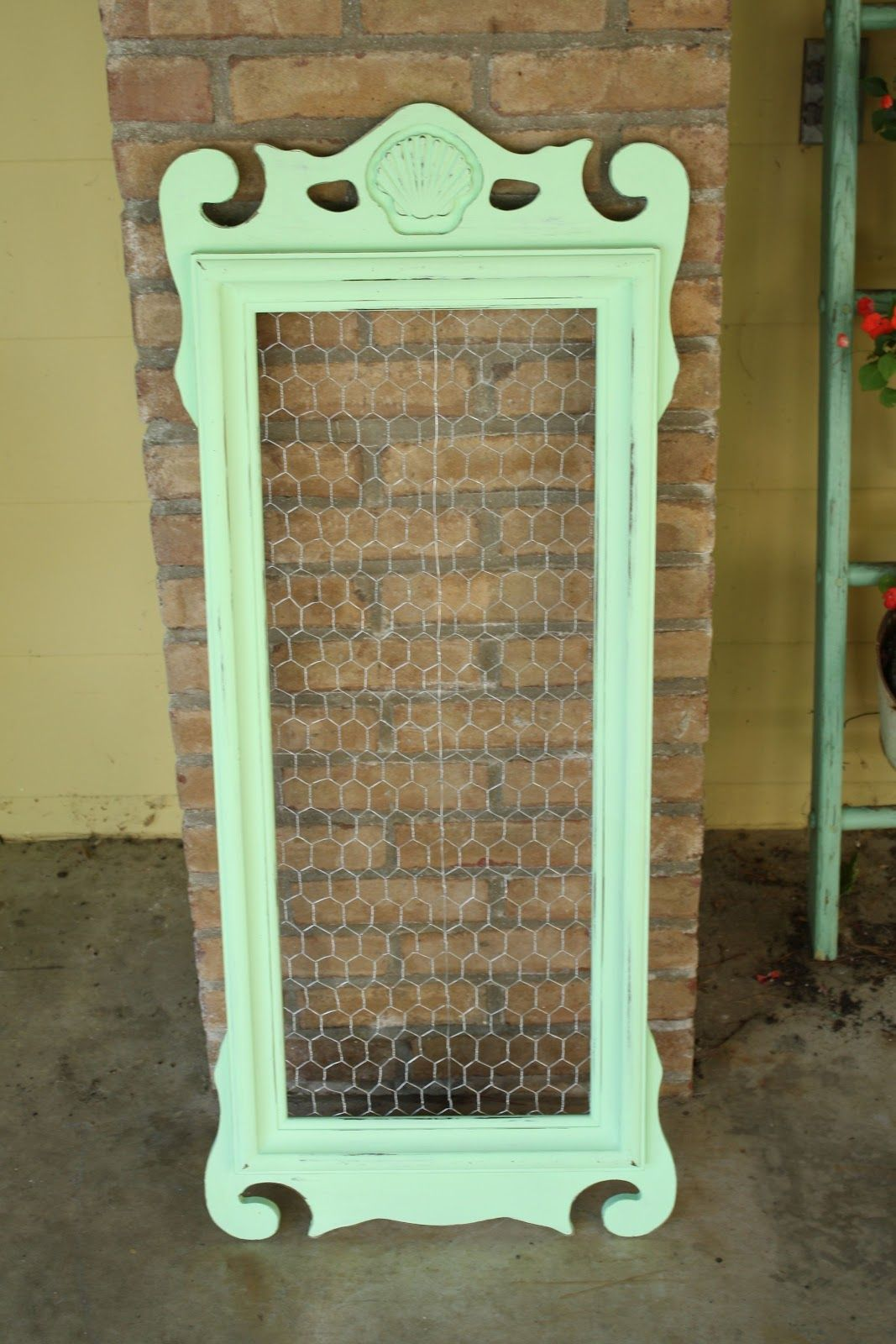 Primitive Proper mint green message board from mirror frame with