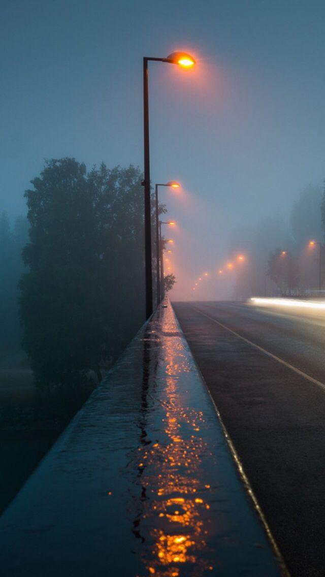 Cold Night Rain On Empty City Streets