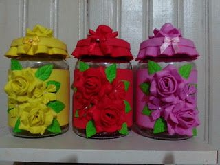 Herthal art's: vidros decorados com rosas de e.v.a, Herthal art's...