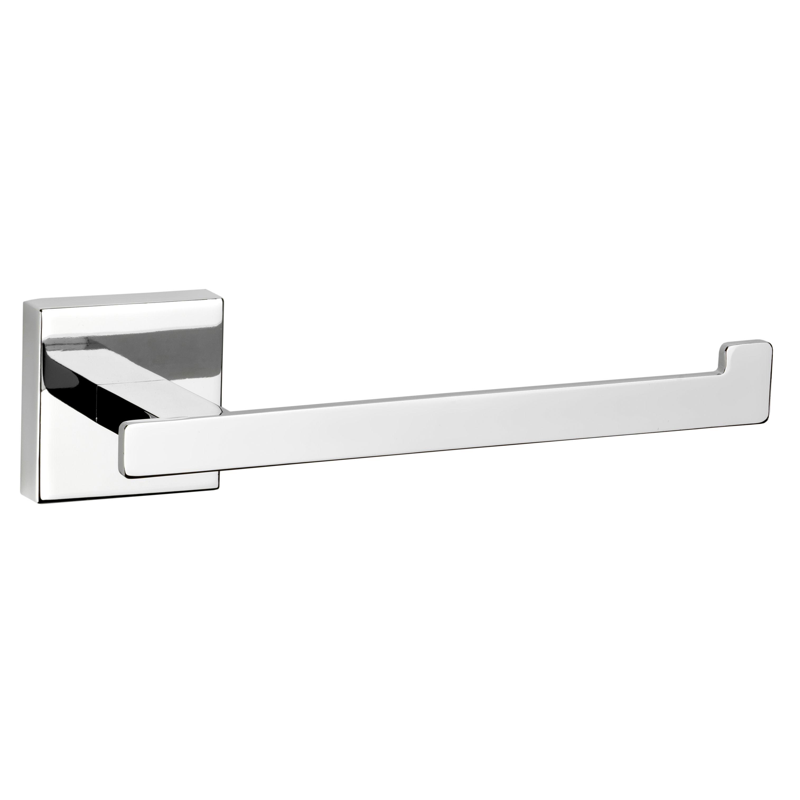 Croydex Flexi Fix Cheadle Silver Wall Mounted Chrome Effect Toilet Roll Holder W 190mm Departments Diy At B A Toilet Roll Holder Silver Walls Toilet Roll