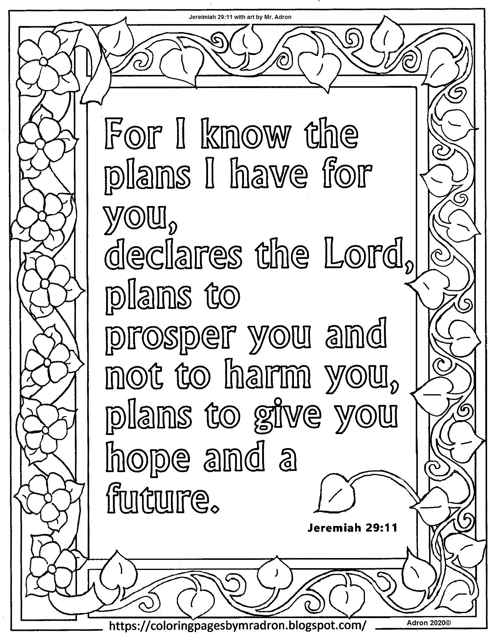 Free Jeremiah 29 11 Print And Color Page Bible Verse Coloring Page Free Printable Coloring Pages Free Prints