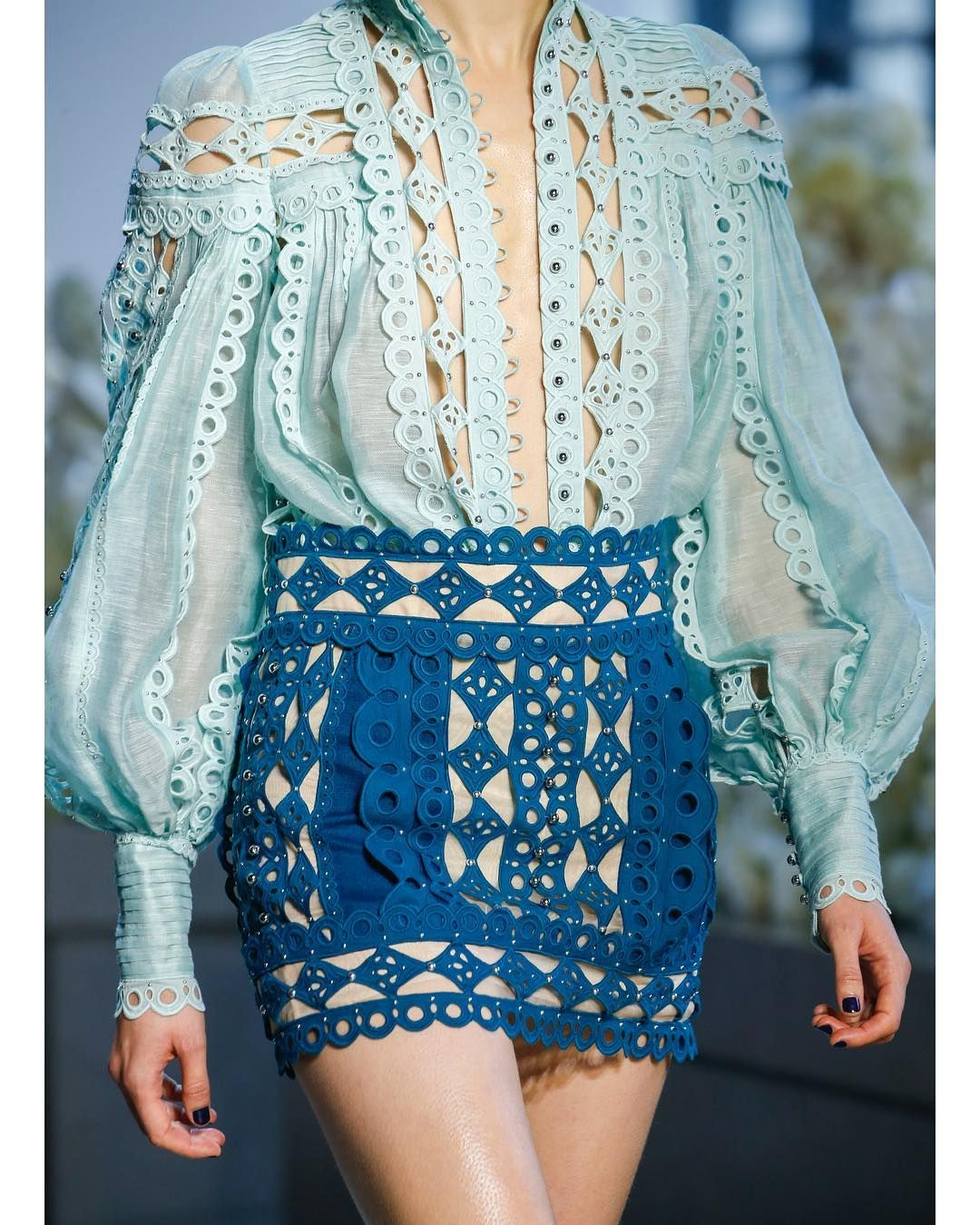 """be37ea9105 ZIMMERMANN on Instagram  """"Up Close  The Moncur Studded Blouse and Mini  Skirt from Spring 19. Shop the look via the link in our bio."""