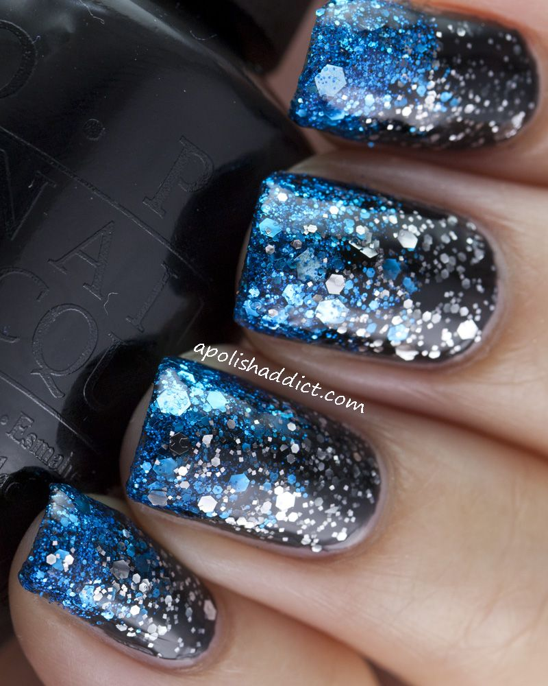 OPI Lady In Black, OPI Metallic 4 Life, Barry M Blue