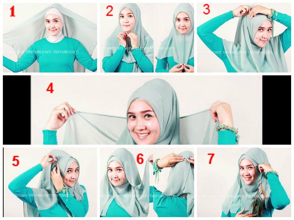 Tutorial Hijab Segi Empat Yang Elegan Hijab Gambar Kerudung
