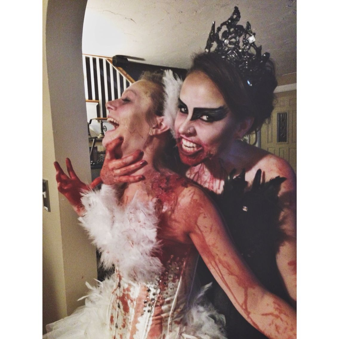 diy zombie black swan and zombie white swan halloween. Black Bedroom Furniture Sets. Home Design Ideas
