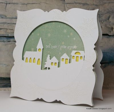 handmade Winter/Christmas card from min rosa krusedull ... shaped card using labels die cut ... window circle filled with die cut landscape line with church and houses ...