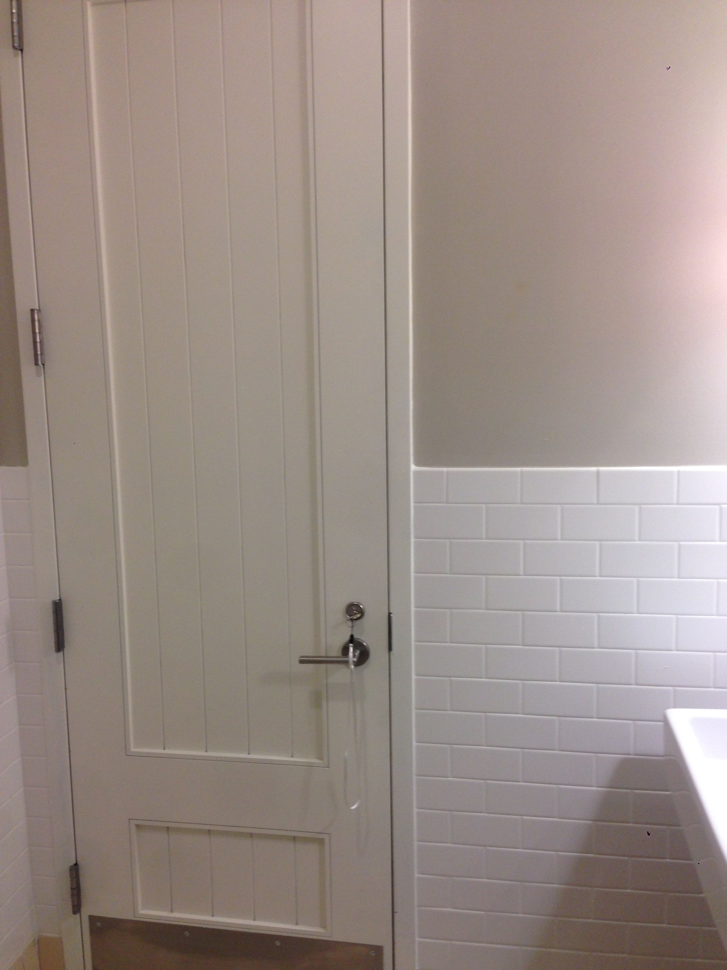 Glossy White Paneling Beige Wall And White Subway Tile White Paneling Beige Walls White Subway Tile