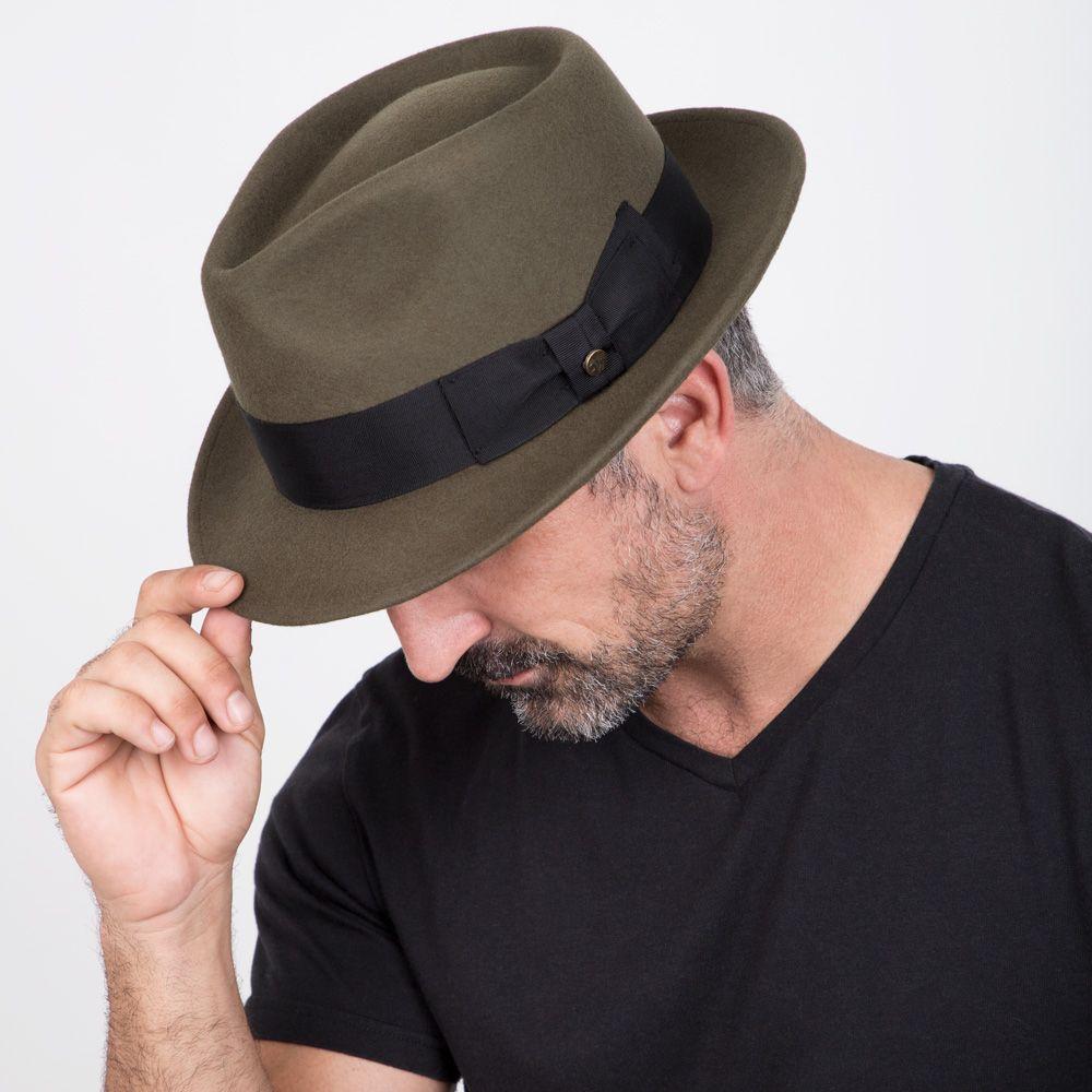 Compass - Walrus Hats Olive Diamond Crown Wool Felt Fedora Hat  a4abe4779676