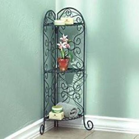This beautiful antiqued faux-verdigris corner plant stand with its beautiful scroll-work was designed to fit into any corner.  There is ample room on...
