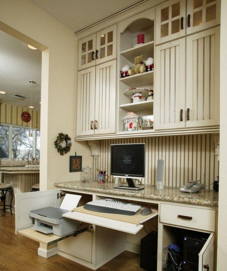 amnagement bureau maison meuble de rangement en bois blanc et