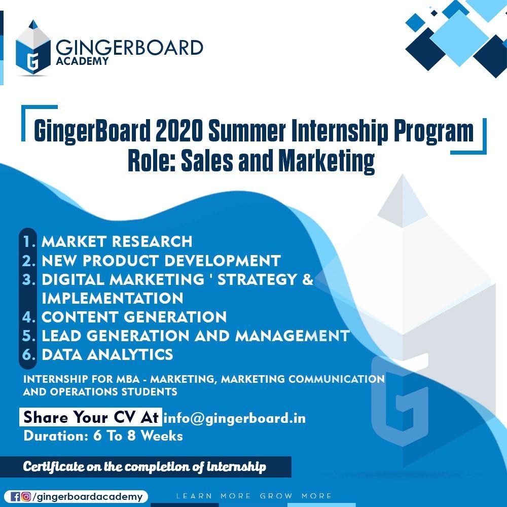 Summer Internship Program in 2020 Internship program