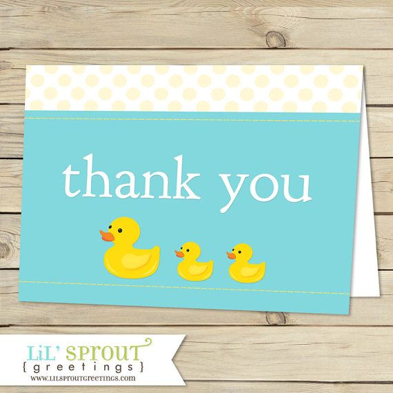 Rubber Duck Baby Shower Printable Thank You Notes by lilsproutgreetings