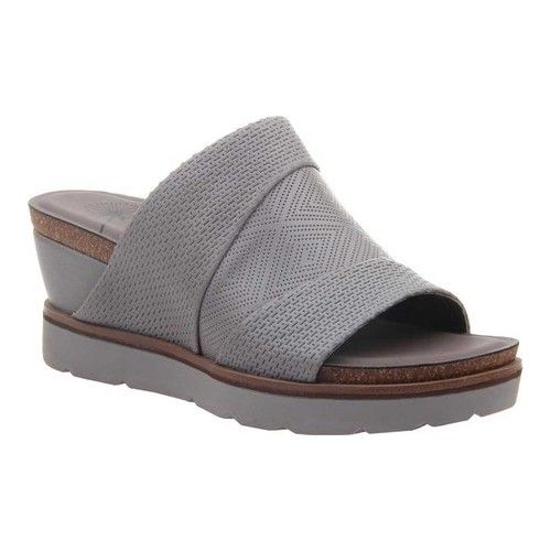 f1196118d7c Women s OTBT Earthshine Wedge Slide - Zinc Perforated Leather Sandals