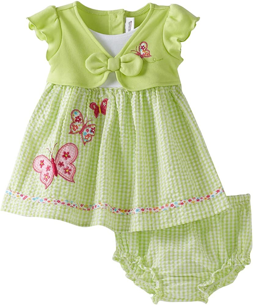 Amazon.com: Youngland Baby Girls' Mock Butterfly Seersucker Sundress, Green/Multi, 24 Months: Infant And Toddler Dresses: Clothing