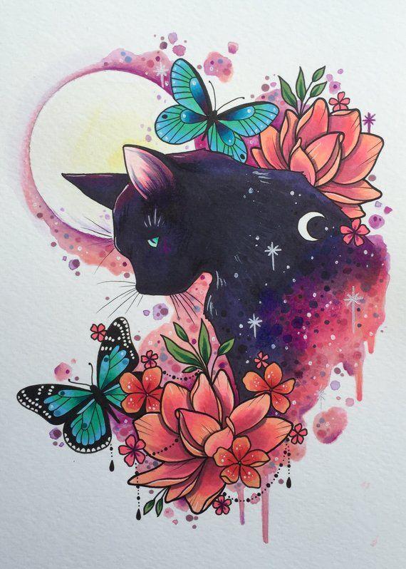 Black cat tattoo print, tattoo design, cat art print, butterfly painting, tattoo flash design, watercolor print, witches cat print