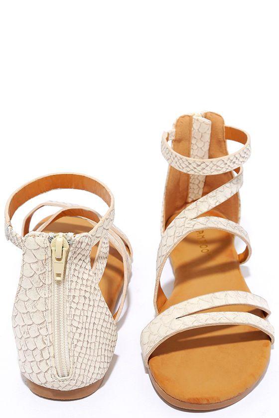 87a93d3a3c6e Next Stop Beige Snakeskin Flat Sandals at Lulus.com!