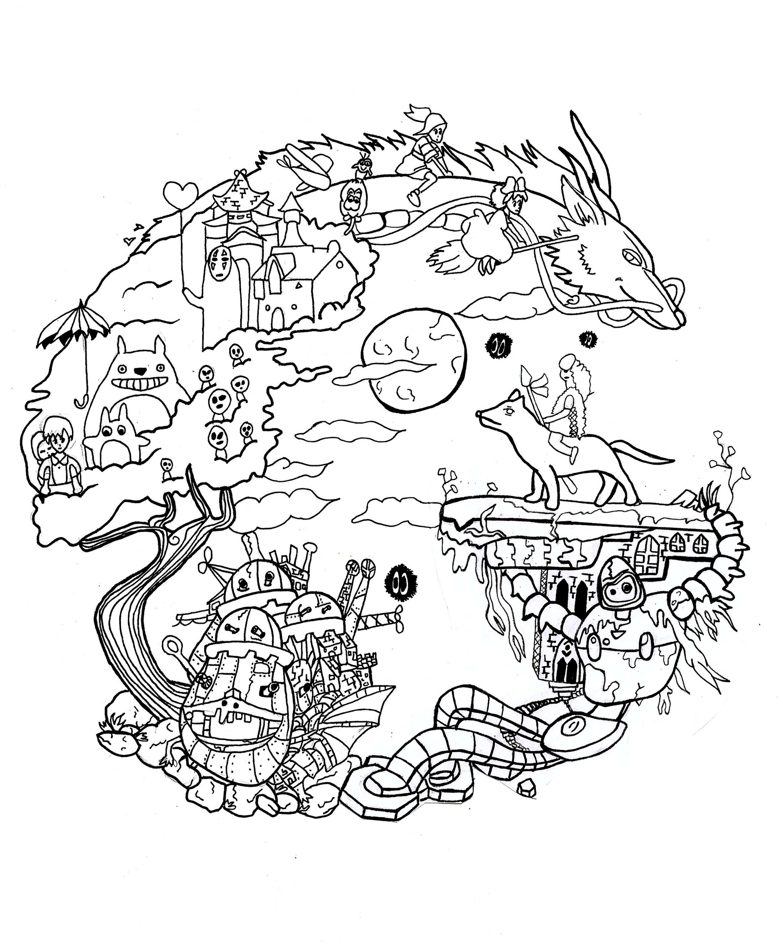 Studio Ghibli Manga Anime Coloring Pages For Adults Just