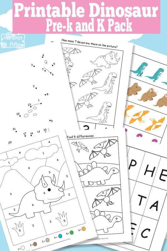 Dinosaur Printable Preschool and Kindergarten Pack   Kindergarten ...