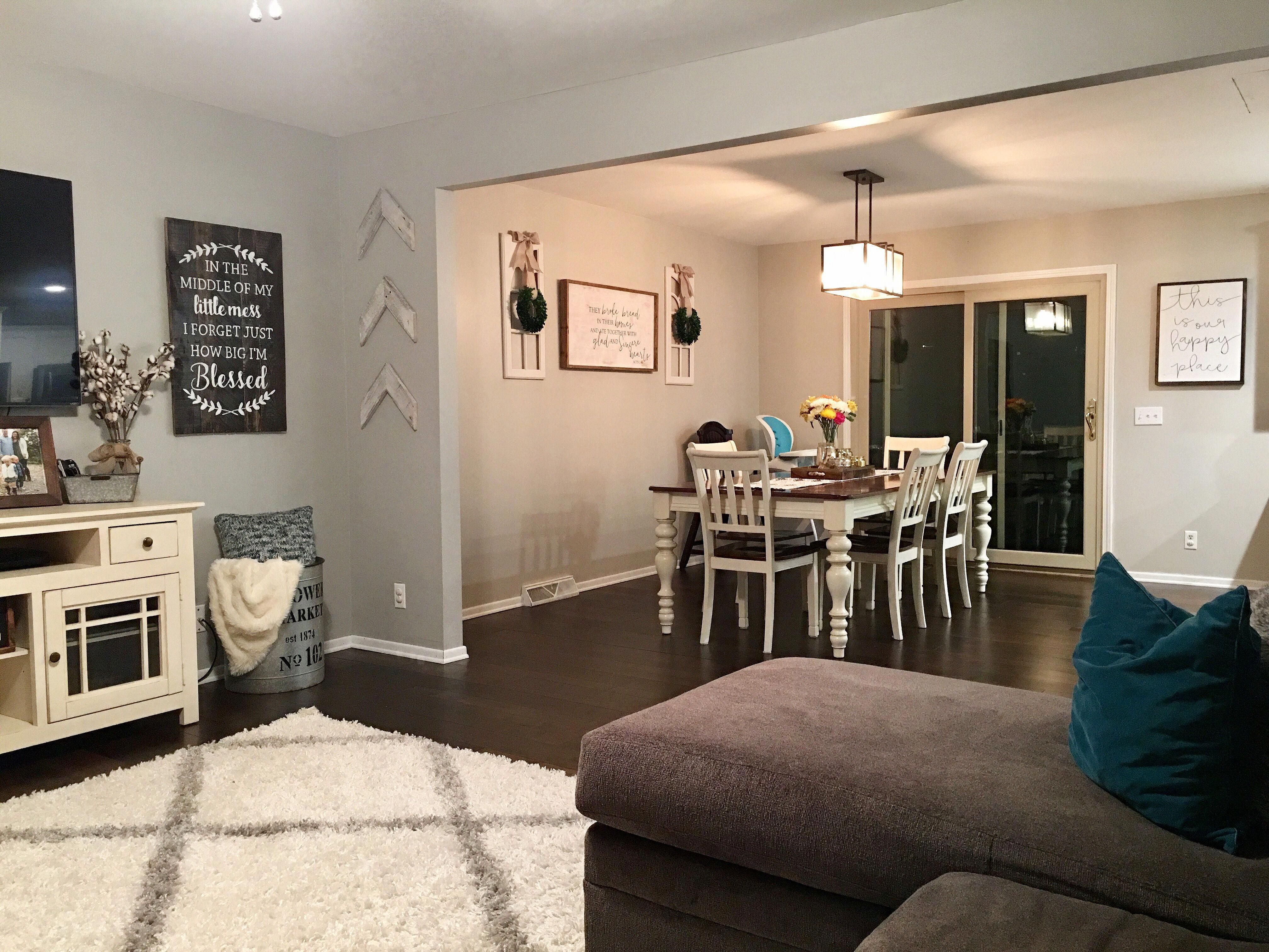 open floor plan in split level home opened kitchen