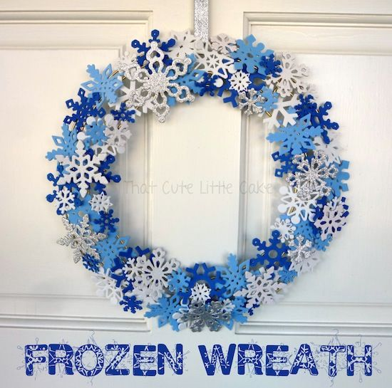 Frozen Movie Night Snowflakes Wreath DIY That Cute Little Cake
