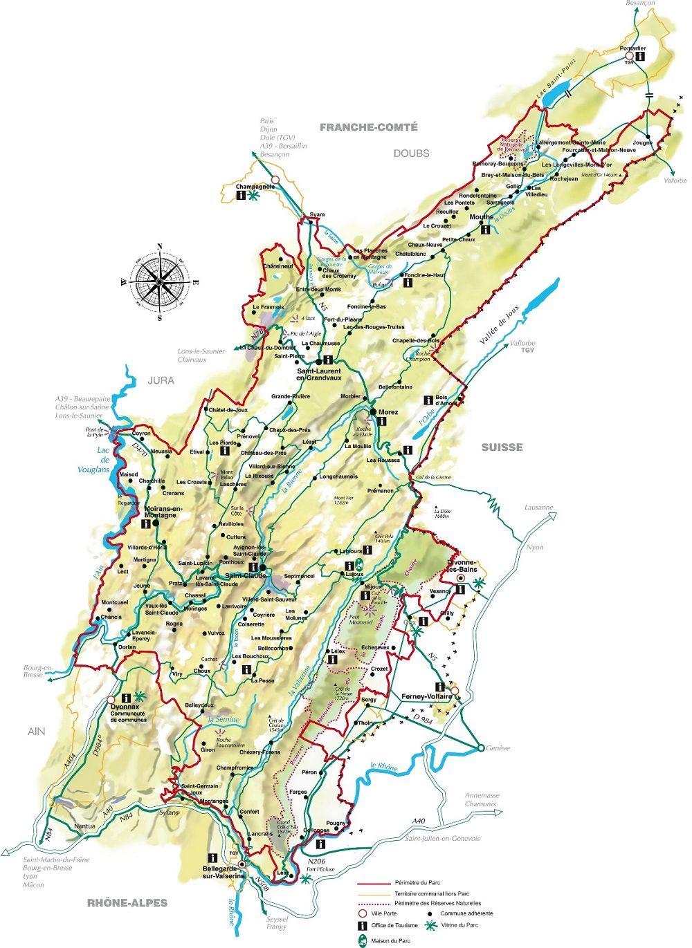 Jura Carte Du Parc Naturel Regional Haut Franche Comte Territoire Belfort Doubs Ain