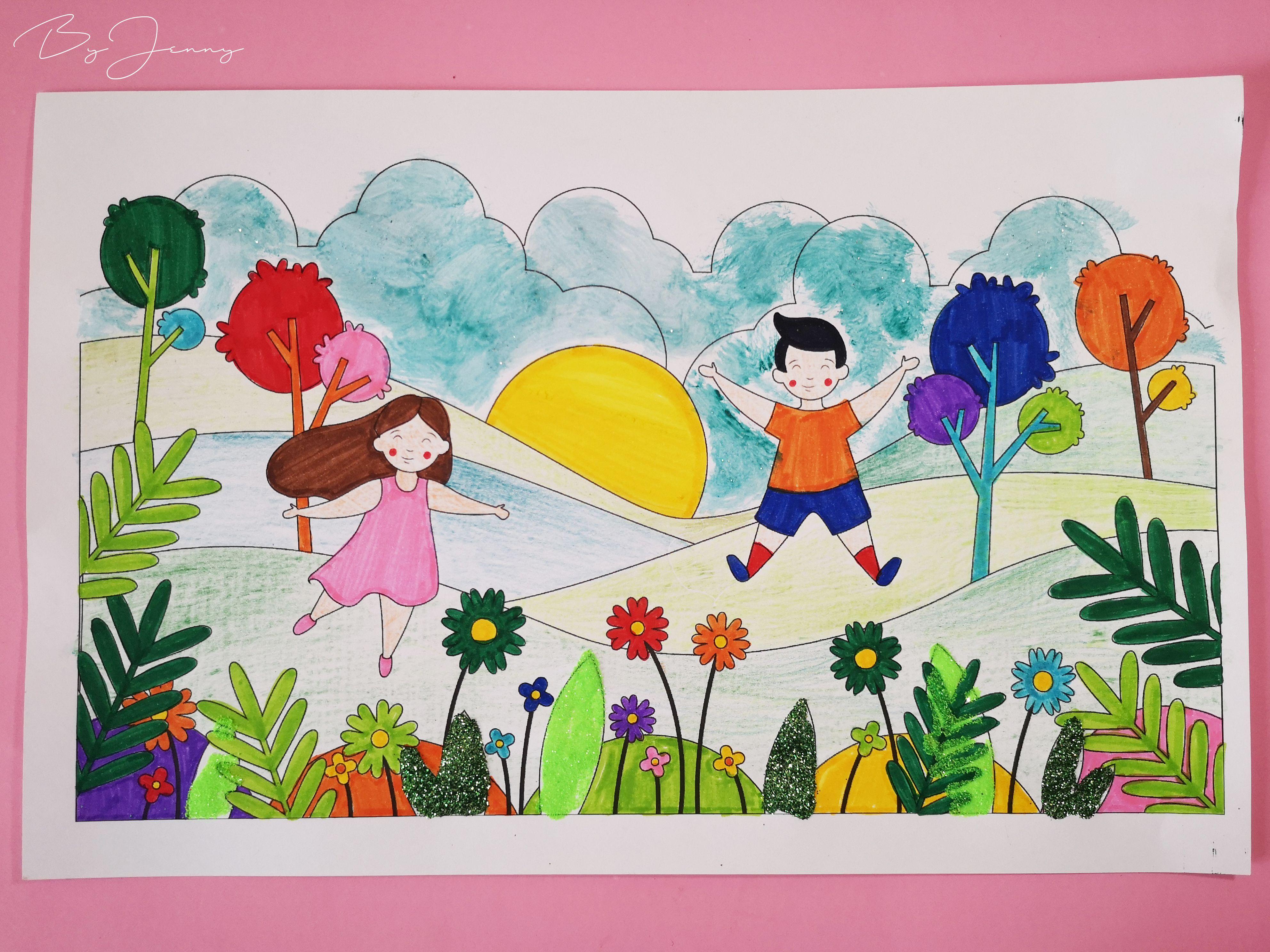 Dibujo De Paisaje Con Ninos Hecho Con Marcadores Crayones De Madera Brillantina Y Acuarela
