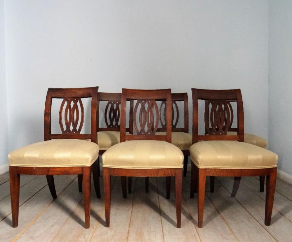 Set of 6 Directoire Walnut Italian Chairs Italian chair