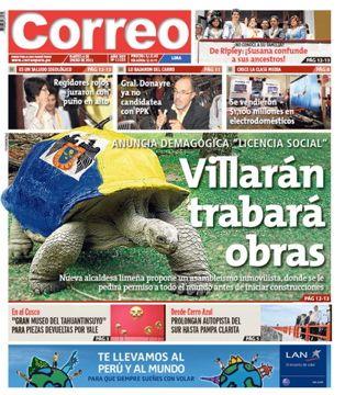 Esa portada de Correo contra Susana Villarán es increíble, porque ni siquiera había dado su discurso inaugural en el cargo, y ya le habían endilgado la tortuguita. 4 de enero de 2011