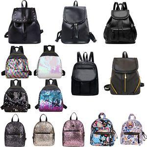 Frauen-Leder-Rucksack-Schultertasche-Reise-Handtasche-Schulbeutel-Satchel-Tasche